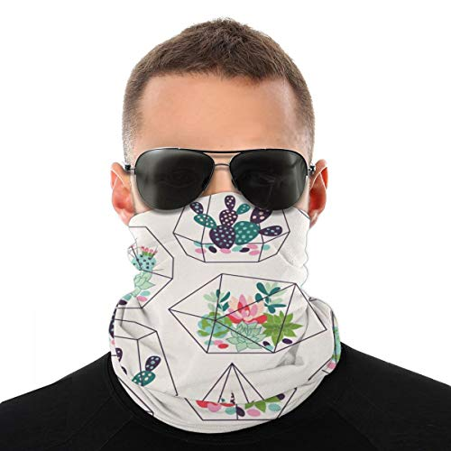 Cactus Succulents And Cactuses Inky In Glass Terrariums Tropical Face Scarf Covering Bandana Dust Face Covering Motorcycle Face Covering for Women Men Face Scarf