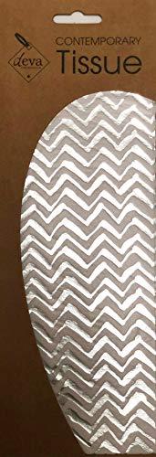 Zilveren Zig Zag Metalen Weefsel Gedrukt Patroon Weefsel Inpakpapier Deva Ontwerpen Luxe 2 Vellen 50 x 70 cm