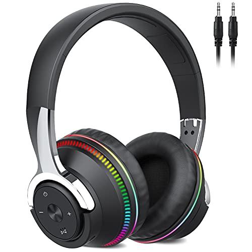 Auriculares Inalámbricos Bluetooth, 60Hrs Cascos Inalambricos Diadema Plegables HiFi Cerrados Auriculares con Microfono/Luces de Colores, Soporte Micro SD/FM Reproducir, Control de Botones(Negro)