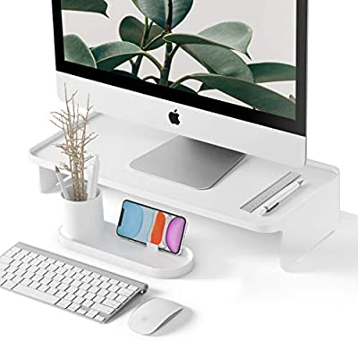 Monitor Stand Riser - Modern Desk Organizer Accessories - Zero Assembly Design for iMac, Desktop Computer Monitors - White