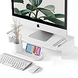 Monitor Riser | with Pen & Phone Organizer | Zero Assembly | Modern Desk Organizer | Monitor Stand Riser for iMac, Computer Monitor, Desk, White