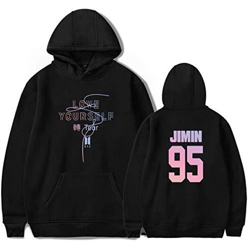 Silver Basic BTS Love Yourself Sudadera con Capucha para Mujer KPOP BTS Sweater The Same Style Hoodie Bangtan Boys Ropa M, Negro Jimin-3