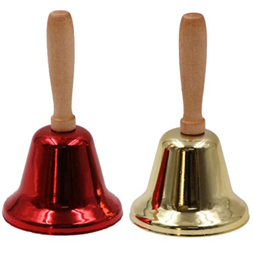 PRETYZOOM 2Pcs Handglocke Santa Claus Handglocken Weihnachtsglocken Metall Schulglocken Haustierglocken Anrufservice Handglocken Musical zum Abendessen nach Hause Weihnachtsfeier