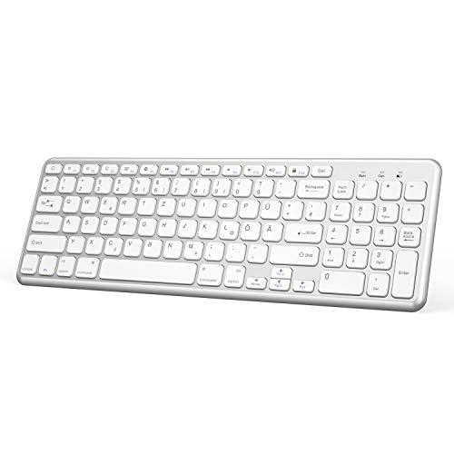 OMOTON deutsche Bluetooth Tastatur für iPad 10.2 / iPad Pro 11,iPad 2018/2017,iPad 5/4/3/2,iPad Air 2/1,iPad Pro 10.5,iPad Pro 12.9,iPad mini,iPhone Handy,QWERTZ Layout mit Nummernblock,Kompakt,Silver