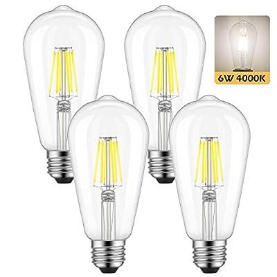 Dimmable Edison LED Bulb, Daylight White 4000K, Kohree 6W Vintage LED Filament Light Bulb, 60W Equivalent, E26 Base Lamp for Restaurant,Home,Reading Room,Office, Pack of 6