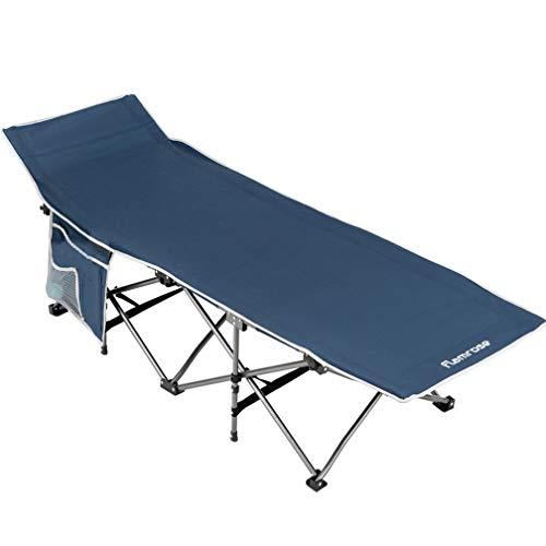 FLAMROSE折り畳み キャンプ レジャー ベンチ チェアーサマーベッド アウトドアベッド 折りたたみ ベッド コット耐荷重140kgグレー ベッド アウトドア 防災 収納 折りたたみ式ベッド (紺青色)