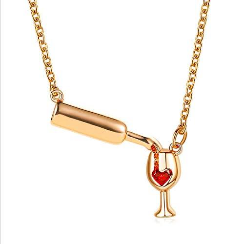 Chmier, collana girocollo da donna con bicchiere di vino in oro rosa, collana girocollo con ciondolo a forma di bottiglia di vino