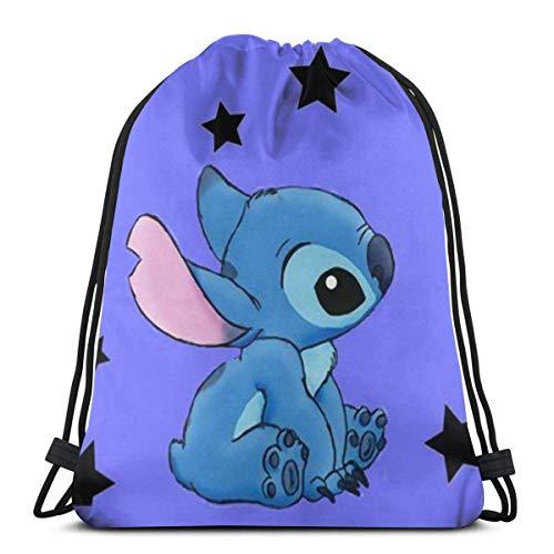 Etryrt Sacs à Cordon Sac à Dos Stitch with Stars Gym Backpack Shoulder Bags Sport Storage Bag for Man Women