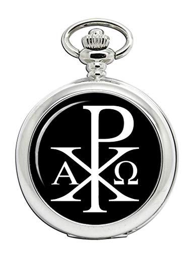 Chi-Rho Alfa Omega Reloj Bolsillo Hunter Completo