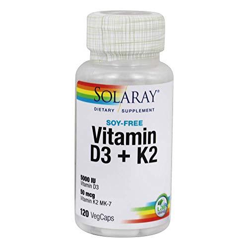 SOLARAY Vitamin D3 + K2 | 5000 Iu | Vegcaps Es 200 G, Sin Sabor, One size, Vanilla, 120 Unidad