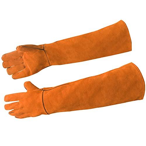 LEcylankEr Mehrzweck-Anti-Biss-Handschuhe,Langärmlige Gartenhandschuhe,Punktfeste Kevlar-Handschuhe Für Hund/Katze/Vogel/Schlange/Kaktus/Rose (Orange)