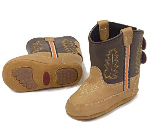 Westernwear-Shop Baby Leder-Cowboystiefel Westernstiefel Boy Baby-Westernstiefel Kinder-Westernstiefel Cowboy Boots für Jungen (3) Braun
