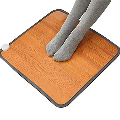 OCYE Comfortabel elektrisch verwarmingskussen, elektrisch verwarmde voetenwarmer, snel opwarmen, carbonkristal, bescherming tegen oververhitting, decoratie van houten strepen