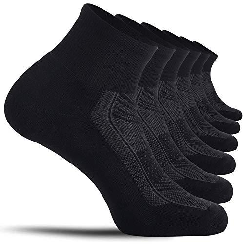 CelerSport Running Ankle Socks for Men Women(6 Pair Pack)- Sport Athletic Socks with Cushion, Seamless Toe, Black, Medium