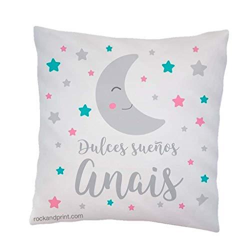 Cojín regalo bebe dulces sueños luna. 40x40 cm, incluye relleno. Elige el color. Nacimiento, recién nacido, decoración cuna. Cojines infantiles originales apego guardería. Idea Navidad bebe