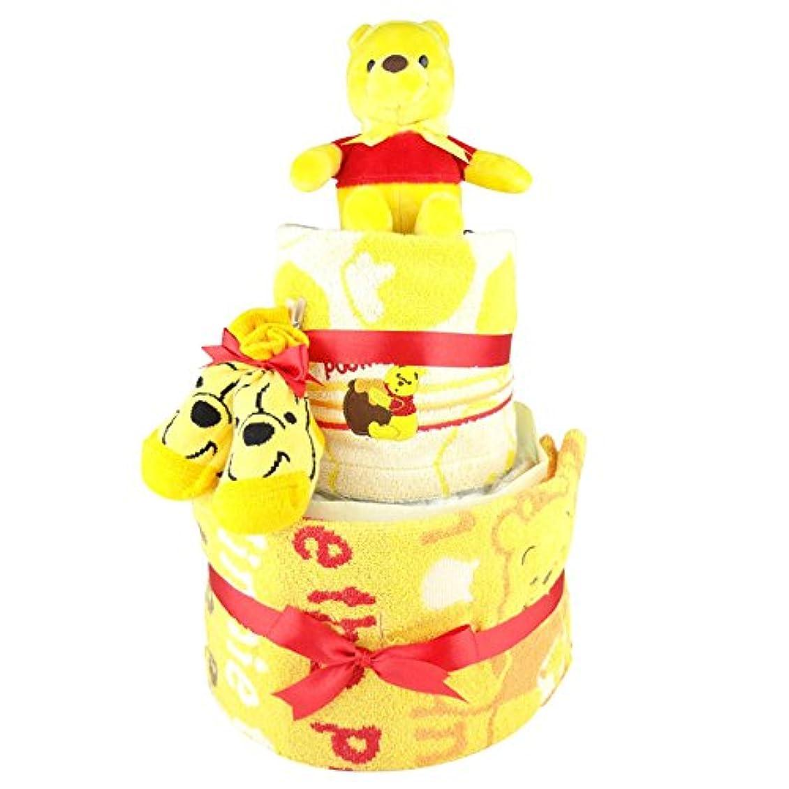 イブニング階層で出来ているおむつケーキ プーさん くまのプーさん ディズニー 2段 出産祝い ベビーギフト タオル ソックス ぬいぐるみ pooh2