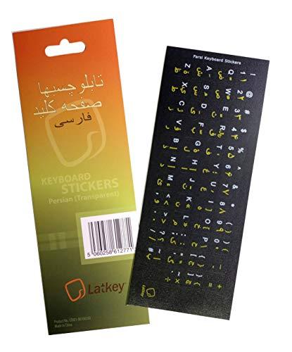 Pegatinas de teclado persa para ordenador de sobremesa, portátil (pegatinas de teclado con letras rojas sobre fondo transparente transparente)