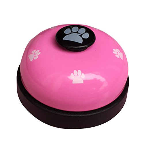 Olpchee Metal Desk Call Bell Dog Training Bells with Footprints Pattern for Kitchen Counter Reception (Pink)