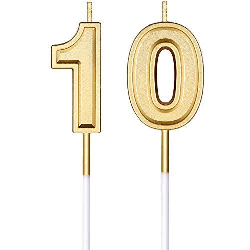 Candele per Il 10 ° Compleanno Candele Numerali Torta Candele Topper Torta di Buon Compleanno Decorazioni per Rifornimenti di Celebrazione di Anniversario di Matrimonio di Compleanno