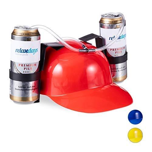 Relaxdays Cappello Porta Birra, Elmetto con cannuccia, per 2 Lattine, Gadget per Carnevale, Calcio, Feste, Rosso
