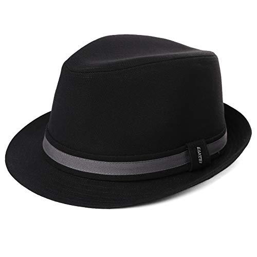 Siggi Trendy Trilby Sombreros Jazz Cap Homburg Gangster Fedora Derby Sombrero de fiesta para hombre 58-60 cm Negro 99130_Black Taille unique