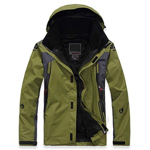 TSTZJ Herrenbergsteigen wasserdichte Ski-Jacke, Wetterschutzjacke Herren Winter Warm Water-Resistant Fleece-Jacke im Freien Ski Eislaufen Hoodie (Color : Green, Size : XXL)