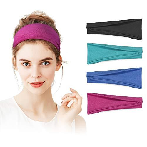 Headbands for Women Kuaima Workout Yoga Headband Non Slip Stretchy Cotton Headband Sweat Head Bands for Sports Running Fitness4Pcs