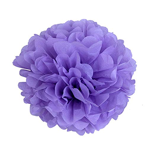 WHRP-decoration Girlande Deko 4Pc 10 Zoll (25Cm) Dekorative Seidenpapier Pom Poms Blume Ball Hochzeit Geburtstag Baby Dusche Kinderzimmer Dekoration, Lavendel