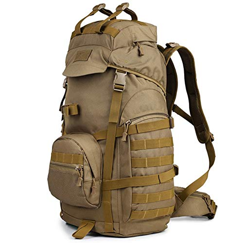 W-Shufang-backpack 32cm*22cm*61cm Molle 60L Camping Rucksack Tactical Bag Military Backpack Large Waterproof Backpacks Camouflage Hiking Outdoor Army Bags (Color : Khaki)