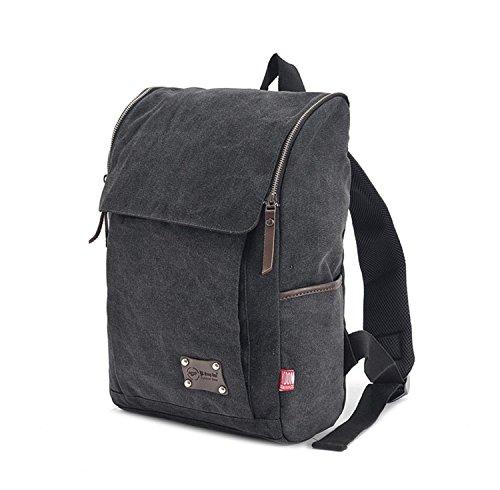 Randonnée sac à dos Canvas imperméable à l'eau sac à dos Sports forfait Camping pêche à vélo ski léger loisir sac à dos H42 x L29 x T13 cm , black