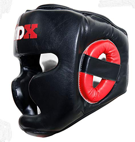 MADX Real Leather Head Guard Headgear Face Protector Boxing Helmet MMA Black (Black/Red)