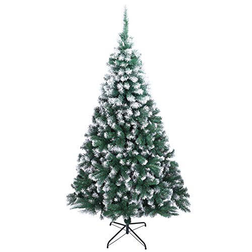 XM&LZ 7FT PVC Flocked Christmas Trees Prelit,Spray White 870 Branches Small Christmas Tree Ornaments Holiday Decor Ideal Xmas for Home Office