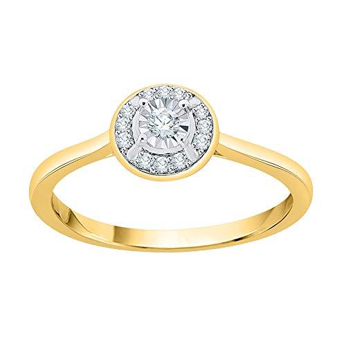 KATARINA Miracolo Diamond Plate Halo Anello di Fidanzamento in Oro Giallo 14K (1/10 Cttw, G-H, I2-I3) (Size-6.5)