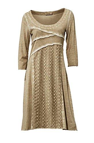 Linea Tesini Designer-Kleid mit Spitze sand Größe 44