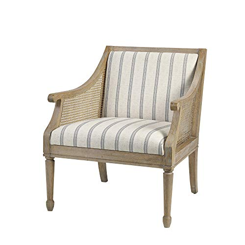 Martha Stewart Isla Accent Chairs - Solid Wood, Swoop Arm, Deep Seating Living Room Armchair Modern Contemporary Style Sofa Furniture, Bedroom Lounge, Beige