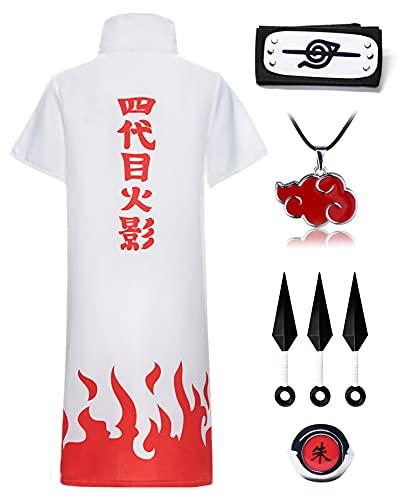 O.AMBW Ninja Itachi Uchiha Capas Disfraz de Akatsuki Cosplay de Anime Capa de Cuello de Akatsuki Blanco con Naruto Accesorios Completos Ropa de Fiesta
