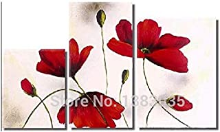 DIU Hand Painted Red Flower Painting Modern Abstract 3 Panel Wall Art Sets Canvas Oil Picture For Home Decoration