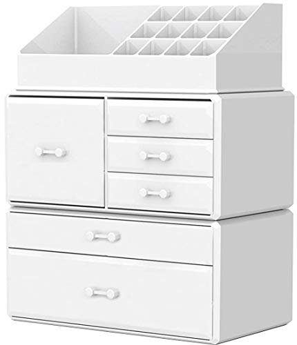 Makeup Organizer Countertop Acrylic,3 Piece Stackable Design Make Up Cosmetics Storage Stand with 6 Drawers, For Cosmetics, Skincare, Vanity, Bathroom,White By Cq acrylic