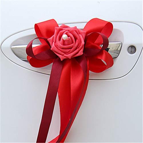 RAILONCH 10pcs Autoschleifen Hochzeit Hochzeitsauto Deko verschönert Rückspiegel Türgriff Dekoration Simulation Blume Hochzeitsauto Dekoration (Rot)