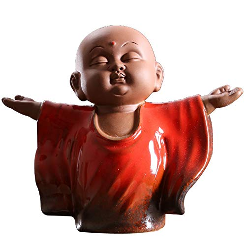 KINGZHUO Ceramic Tiny Cute Buddha Statue Monk Figurine Creative Baby Crafts Dolls Ornaments Gift Classic Chinese Delicate Ceramic Arts and Crafts Tea Accessories 4.2'' Inches High (Red)