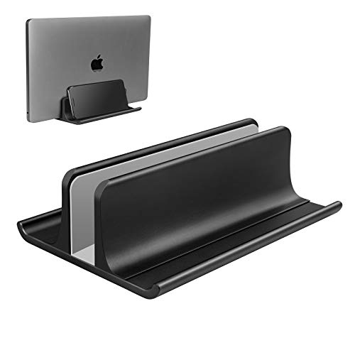 VAYDEER Vertical Laptop Stand Holder 3 in 1 Space-Saving Adjustable Desktop Notebook Dock for All MacBook Pro Air, Mac,HP, Dell, Microsoft Surface,Lenovo, up to 17.3 inch Black
