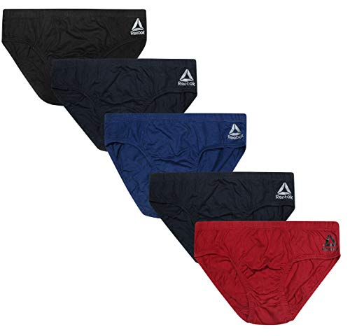 Reebok Men's Low Rise Underwear Briefs (5 Pack), Navy/Blue/Black/Red/Navy, Small