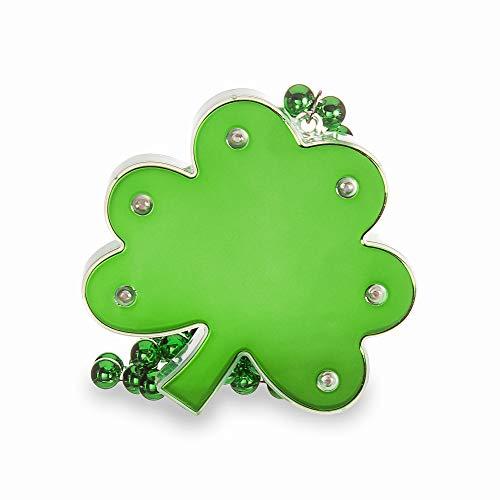 Windy City Novelties LED Light Up Large Green St. Patrick's Day Shamrock Beaded Necklace