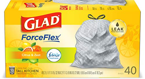 Glad ForceFlex Tall Kitchen Drawstring Trash Bags, Citrus & Zest, 13 Gal, 40 Ct (Package May vary) (Package May Vary)