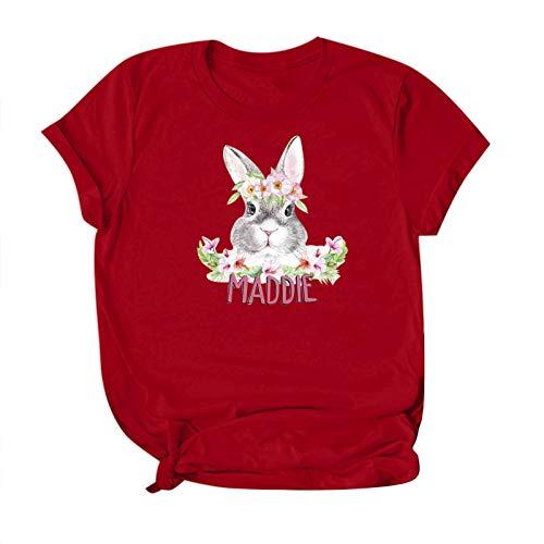 Camiseta básica para mujer de Pascua, de verano, con estampado de animales, manga corta, informal, cuello redondo, básica, blusa elegante Vino Y. L