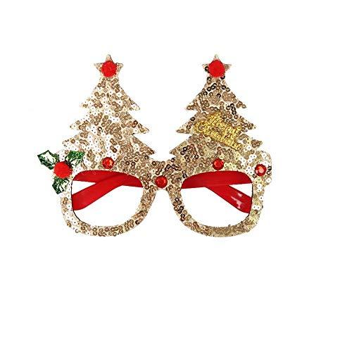 QUUY Gafas de fiesta de Navidad Gitter Marcos Decoración de Navidad Novedad Disfraz Fantasía Gafas Gafas Sin Lentes Innovadoras Gafas Decoración