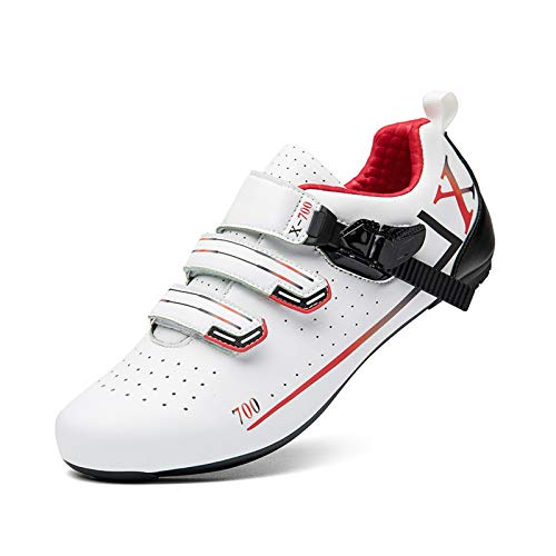 Tmpty Bicycle Men's Road Cycling Riding Shoes Microfiber Breathable Locking Shoes Indoor And Outdoor Cycling (Color : White, Size : 10.5)
