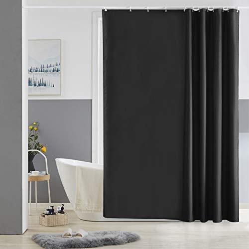 Cortinas Baño Original,Negro Impermeable al Moho Cuarto de Baño Ultra Grande Tela Forro Lavable, Conjuntos con 12 Ganchos de Plástico-180 x 180cm.
