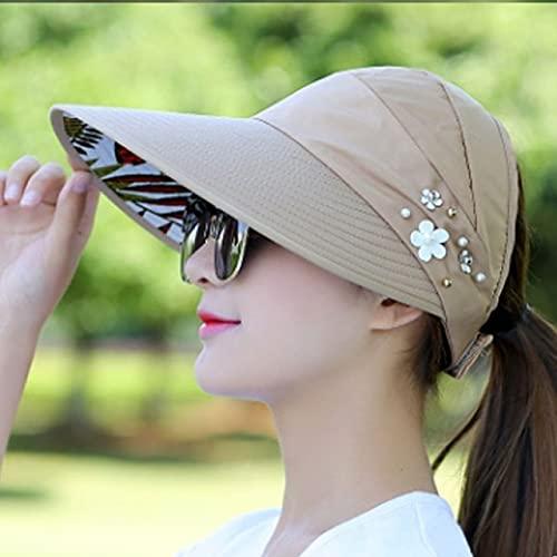 Shihuawu Protector Solar Sombrero de Pescador protección UV Casual Damas Verano Sombrero Cola de Caballo Sombrero de ala ancha-khaki-G0098