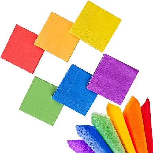 Whaline 120 Stück Regenbogen-Papier-Servietten, Cocktail-Servietten, 2-lagig, für Gay Pride, Zuhause, Küche, Party-Dekoration